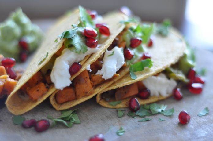 Sweet Potato and Pomegranate Tacos